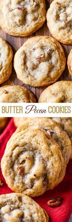 Butter Pecan Cookies-- soft centers crisp edges toasted pecans and full of buttery brown sugar flavor! Butter Pecan Cookies-- soft centers crisp edges toasted pecans and full of buttery brown sugar flavor! 13 Desserts, Cookie Desserts, Delicious Desserts, Dessert Recipes, Yummy Food, Salad Recipes, Dinner Recipes, Baking Cookies, Snack Recipes