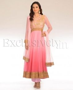 #Exclusivelyin, #IndianEthnicWear, #IndianWear, #Fashion, Pink Ombre Suit With Front Opening