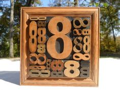 Letterpress Printing Antique Wood Type Graphic Design All Number 8 In Frame