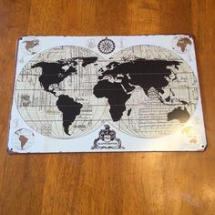Limited Quantities Available: World Map Tin Met...  Buy Now!: http://www.synonyco.com/products/world-map-tin-metal-sign-12x8?utm_campaign=social_autopilot&utm_source=pin&utm_medium=pin