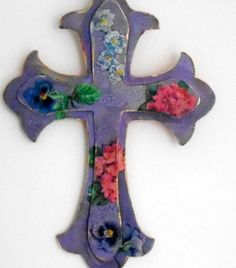 Wooden cross, decoupaged and hand painted, vintage look, wall decor, cottage chic via Etsy