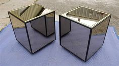 2 Mid Century Hollywood Regency Black Lacquer Henredon Mirrored Cube End Tables 475
