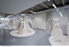 "Comme des Garcons ""White Drama"" Exhibition. Art/Fashion Installation of Rei Kawakubo, Comme des Garcon Spring/Summer 2012 at Cite de la Mode."