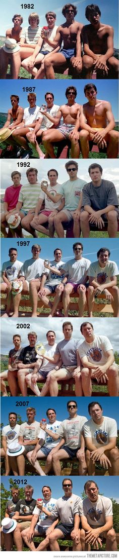 Group of friends take a picture every 5 years…