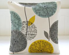 For LC- mustard teal grey pillow cover, dandelion flower cushion cover 18 inch (so cute with teal cabinet) Mustard Living Rooms, Teal Living Rooms, Living Room Designs, Living Room Decor, Bedroom Decor, Yellow Cushion Covers, Grey Pillow Covers, Decorative Pillow Covers, Mustard Cushions