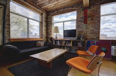 Noble Court Lofts - Unit #413   Toronto LOFTS Toronto Lofts, Centre Island, Hardwood Floors, Flooring, Exposed Brick Walls, Open Concept Kitchen, Wood Ceilings, Beams, Corner Desk