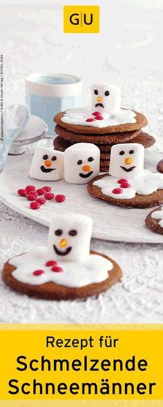 """Backen für Kinder: Rezept für schmelzende Schneemänner-Cookies aus dem Buch """"Weihnachts-Plätzchen"""".⎜GU"""