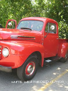 red truck w/ drinks in back