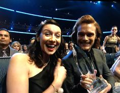 Outlander wins!!!! Caitriona Balfe and Sam Heughan, 2015 People's Choice Awards