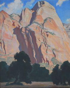"Maynard DIxon, Cliffs of Zion Park, 1940, oil on masonite, 20"" x 16"""