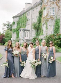 Sophisticated & elegant Destination Wedding in Ireland | Ireland Real Weddings Bhldn Bridesmaid Dresses, Mismatched Bridesmaid Dresses, Grey Bridesmaids, Bridesmaids With Different Dresses, Bridesmaid Ideas, Wedding Dress Chiffon, Bridal Wedding Dresses, Bridal Bouquets, Elegant Bride