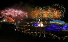 Sochi Closing Ceremony - Fireworks explode over Olympic Park during the 2014 Sochi Winter Olympics Closing Ceremony on February 23, 2014 in Sochi, Russia. (Photo by Al Bello/Getty Images)