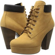 Steve Madden Russty Women's Lace-up Boots, Tan ($75) ❤ liked on Polyvore featuring shoes, boots, heels, tan, laced boots, leather boots, leather lace up boots, leather heel boots and heel boots