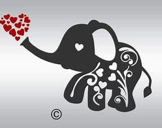 Flourish Elephant hearts SVG Clipart Cut Files Silhouette Cameo Svg for Cricut a. Silhouette Cameo Projects, Silhouette Design, Vinyl Crafts, Vinyl Projects, Elephant Silhouette, Baby Silhouette, Cricut Creations, Baby Kind, Cricut Vinyl