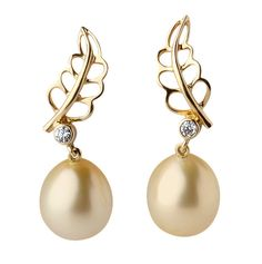 Jewelmer 18K yellow gold drop earrings featuring South Sea pearls and round diamonds. Available at TIVOL.