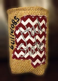 MSU 'Hail State' Burlap Can Koozie on Etsy, $8.00
