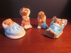 Pendelfin Rabbit Set of 4 With Totty Barney Wakey and Poppet