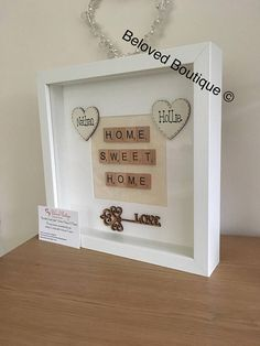 A beautiful gift for a beautiful lady. This Frame can be personalised & up to 6 hearts added with any names. Lovely poem with gold glitter wording and gold heart added. White frame that measures x This price is for 4 hearts only Scrabble Letter Crafts, Scrabble Art, Scrabble Letters, Shadow Frame, Diy Shadow Box, Box Frame Art, Box Frames, Diy Home Crafts, Crafts To Make