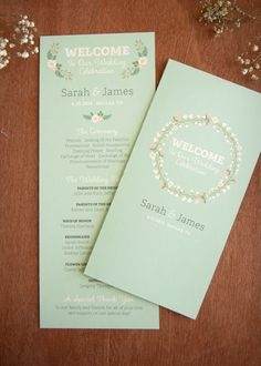 Modern Vintage Wedding Program, Single Card or Folded Card, Printable Digital File