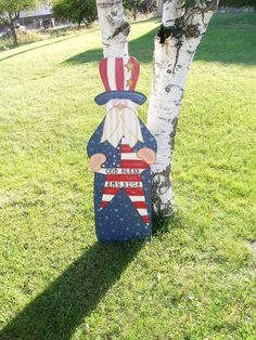 Uncle Sam Wooden Tole Painted Yard art stake or by countyroad9
