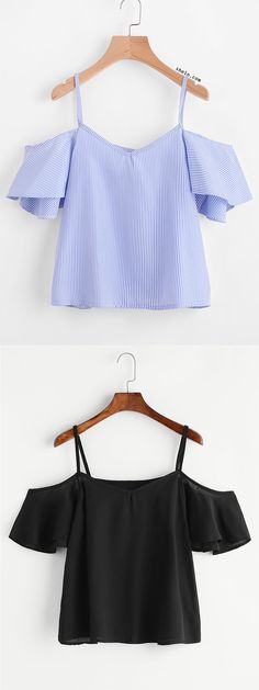 SheIn offers Pinstripe Cold Shoulder Top & more to fit your fashionable needs. Diy Fashion, Fashion Outfits, Womens Fashion, Fashion Design, Cold Shoulder Shirt, Cold Shoulder Tops, Diy Clothes, Spring Outfits, Cute Outfits