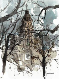 L'église Saint-Enfant-Jésus du Mile-End / Marc Taro Holmes #watercolor jd