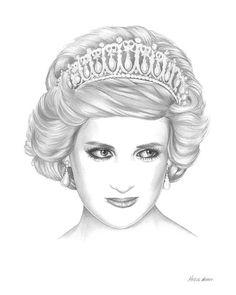 Portrait Art Shower Cap Princess Diana Hearts Heart