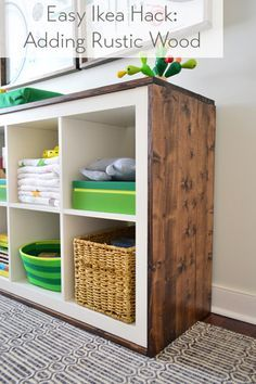 Young House Love | An Easy Ikea Hack: Bookcase To Wood-Wrapped Changing Table | http://www.younghouselove.com