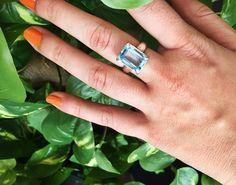 Aquamarine gemstone on a sterling silver ring $170 AUD