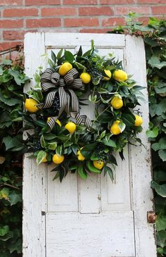 double door wreaths Farmhouse wreath for Front door with Lemons, Spring lemon wreath, Gift for Mom, Year round wreath, C Shabby Chic Kranz, Shabby Chic Wreath, Double Door Wreaths, Lemon Wreath, Year Round Wreath, Front Door Decor, Front Doors, Front Porch, Summer Wreath
