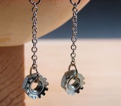 Steampunk Drop Earrings Dangles Hardware Jewelry Long Chain Industrial Hardware Accents. $10.00, via Etsy.