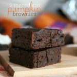 2 ingredient pumpkin brownies-makes 9 brownie cupcakes- top each with 1 tsp chocolate chips prior to baking = 4 weight watcher points each :)