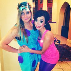 Boo and Sully! #monstersinc #halloween #costumes  sc 1 st  Pinterest & DIY Sully Boo and Mike Wazowski Halloween Costumes with my ...
