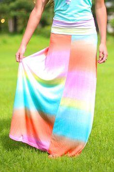 Rainbow Sherbert Maxi Skirt