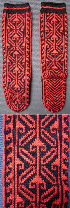 Traditional woollen stockings for women.  From Çamlıhemşin (Rize province), late 20th century. Ethnic goup: Hemşinli.  (Inv.nr. çor031- Kavak Costume Collection - Antwerpen/Belgium).