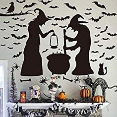 Ivenf Halloween Decorations, Wall Decal Window Decor Party Supplies, 2 Witches with Bats Spider Cat and Crow Halloween Bat Decorations, Scary Decorations, Halloween Banner, Backdrop Decorations, Halloween Home Decor, Halloween Bats, Halloween Design, Origami Halloween, Cheap Halloween
