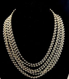 Stylish Vintage 1980s Silver Tone Drop 8 Chain Necklace. Great Clasp