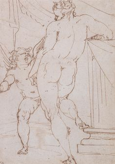 Luca Cambiaso – Venus and Cupid, ca. 1550; Pen in brown ink on paper
