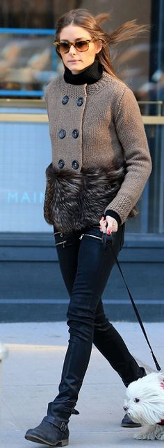 Who made Olivia Palermo's black leather skinny pants, cardigan sweater, sunglasses, and black buckle boots? - Sunglassses- Ray Ban Sweater – Agnona Shoes – Report Pants – Paige