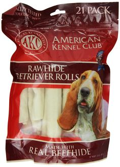 American Kennel Club 21 Count Beefhide Retriever Roll Dog Treats, 5-Inch *** Read more reviews of the product by visiting the link on the image. (This is an affiliate link and I receive a commission for the sales)