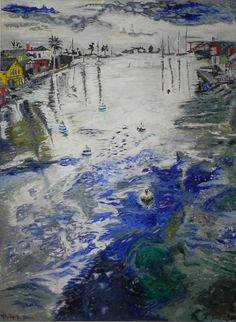 Balboa Channel - My first oil on canvas - Oil on Canvas - Balboa Island, Newport Beach, California