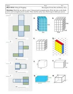 This is #2 of matching...this time students are asked to match a net to a 3-dimensional rectangular prism and find the surface area. (CCSS 6.G.4)Other Common Core 6th Grade Geometry Pages To Come (I am creating an entire unit for my School with rectangular prisms, triangular prisms, and pyramids.)