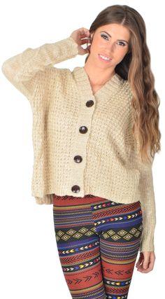 Beige Knit Button Up Sweater #USTrendy www.ustrendy.com