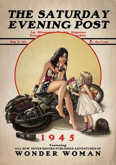 "Wonder Woman 1945 Granada, Spain-based artist Ruiz Burgos (a. ""OnlyMilo"") has created an amazing series of illustrations featuring DC Comics heroes and villains in the style of Norman Rockwell's iconic covers from The Saturday Evening Post. Wonder Woman Art, Wonder Women, Wonder Woman Comic, Comic Books Art, Comic Art, Personnage Dc Comics, Héros Dc Comics, Beste Comics, Dc Comics"