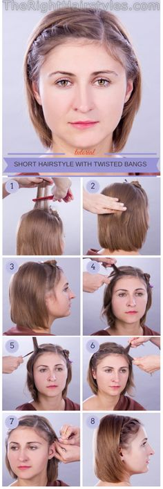 How To: Short Hairstyle For Fine Hair With Twisted Bangs Girly Hairstyles, Short Hairstyles Fine, Twist Hairstyles, Hairdos, Updos, Twisted Bangs, Long Bangs, Bad Hair, Fine Hair