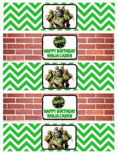 Teenage Mutant Ninja Turtle Water Bottle Labels by ckfireboots, Turtle Birthday Parties, Ninja Turtle Birthday, Ninja Turtle Party, 14th Birthday, Ninja Turtles, Birthday Ideas, Party Fun, Party Ideas, Ninjago Party