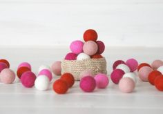 Pure Wool Felt Balls  Material: Handmade using 100% wool fibers Color: Pastel Pink, Neon Pink, Fuchsia, Dusty Pink & Scarlet Size: Approx. 18 mm to 20 mm QTY: 50 Balls These lovely felt balls are great for making holly garland, rugs, wreaths, necklaces, bracelets, earrings, brooches and more. String them together to decorate a room or add them to hats, bags, belts or clothes...  ♥ Bundle Option (Select from drop down menu)  ➳ Felt Balls Only: - You will get 50 Felt balls (10 Of each color…