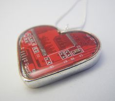 Cyber Monday Etsy Circuit Heart Necklace Red Valentine Recycled Circuit Board Geek Jewelry Free Shipping. $49.00, via Etsy.