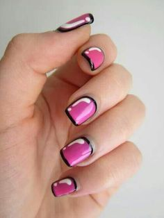 Pink white with black trim nails