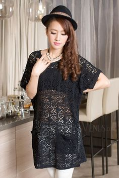 Sexy Round-Neck Hollow Out Short Sleeve Short Day Dress, Short